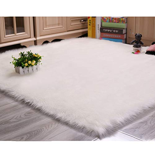 DUANG Imitation Wool Rug Fake Sheepskin Square 5-6cm Washable Longhair Fur Effect Shaggy Non Slip Carpet Yoga Mat,White-170×170cm/5.5ft×5.5ft