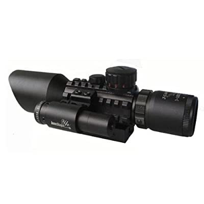 Ledsniper®tactical Reflex 3.5-10x 40 Red / Green Dot Reticle Sight Rifle Scope & Red Laser