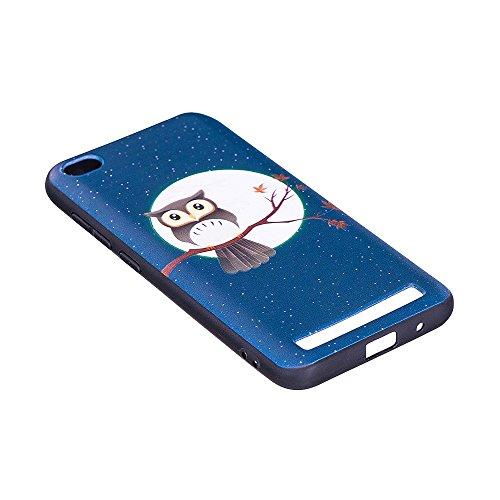 Grandcaser Funda para Xiaomi Redmi 5A,Ultra Fina Slim Flexible Duradera Protectora Funda Estuche de Silicona TPU Gel Original Goma Grip Bumper Design Carcasa - Patrón simétrico Búho marrón