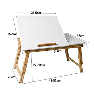 Computer Stand White Lap Desk Bamboo Bed Tray Folding Tea Table Ipad Book Stand