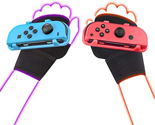 LeyuSmart Wrist Straps for Just Dance 2021 2020 2019 Switch, Hand Free Elastic Wristband for Nintnedo Switch Dancing Accessories, JoyCon Grip Pair (Blue+Red)
