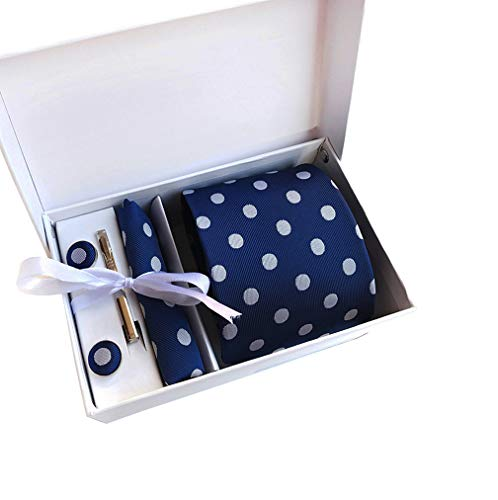 Blue Polka Dot Necktie - MENDENG Mens Blue White Polka Dot Necktie Clip Hanky Cufflinks Set with Gift Box
