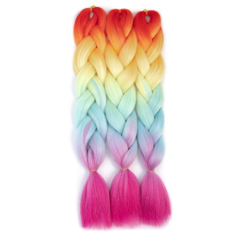 CCmargue Jumbo Braiding Hair Ombre Braiding Hair Extensions High Temperature Three Tone Color Jumbo Hair (3pcs, Rainbow)