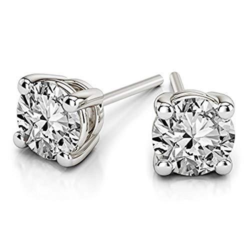 IGI Certified 100% Natural Diamond Earrings 1/5 carat Diamond Solitaire Stud Earrings For Women 14K White Gold Diamond Earrings I3 Clarity JK-Color Real Diamond Earrings for Women (Diamond Gifts)