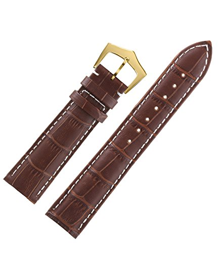 - 15mm Top-Class Brown Strap for Watches in Leather White Contrasting Seam Alligator Grain Gold Pin Clasp Moderate Padding