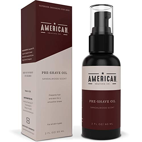 American Shaving Pre Shave Oil For Men (2oz) - Sandalwood Barbershop Scent - 100% Natural Handcrafted Blend w/Argan & Jojoba - Best Men's Shaving Oil for Effortless Irritation-Free Shaving