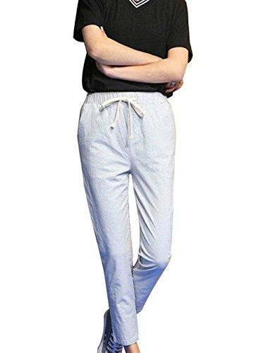 Elegante Leggero Larghi Pantalone Pantalone Pantaloni Pantaloni Colpo White Grau Tempo Puro Coulissechic Sciolto Lunga Estivi Donna Libero Ericcay Pantaloni Colore x1vW4wqSaq