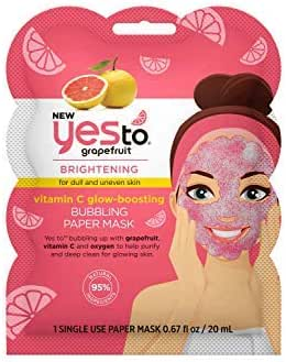 Yes To Grapefruit Vitamin C Glow-Boosting Bubbling Paper Facial Mask - Single Use | For Dull & Uneven Skin | Grapefruit, Vitamin C and Oxygen To Purify and Deep Clean