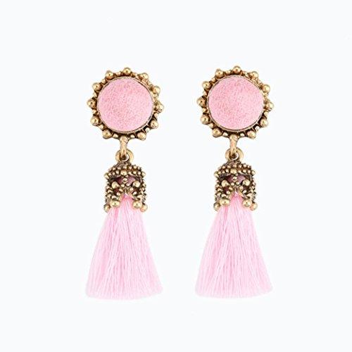 Tassel Earrings, Muranba Vintage Rhinestones Crystal Tassel Dangle Stud Earrings (Swirl Rhinestone Buttons)