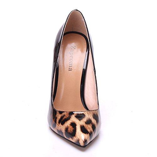 Chaussures Mariage Party Femme ZAPROMA Noir Femme Talons Hauts Chaussures Leopard Escarpins nIFHd8H