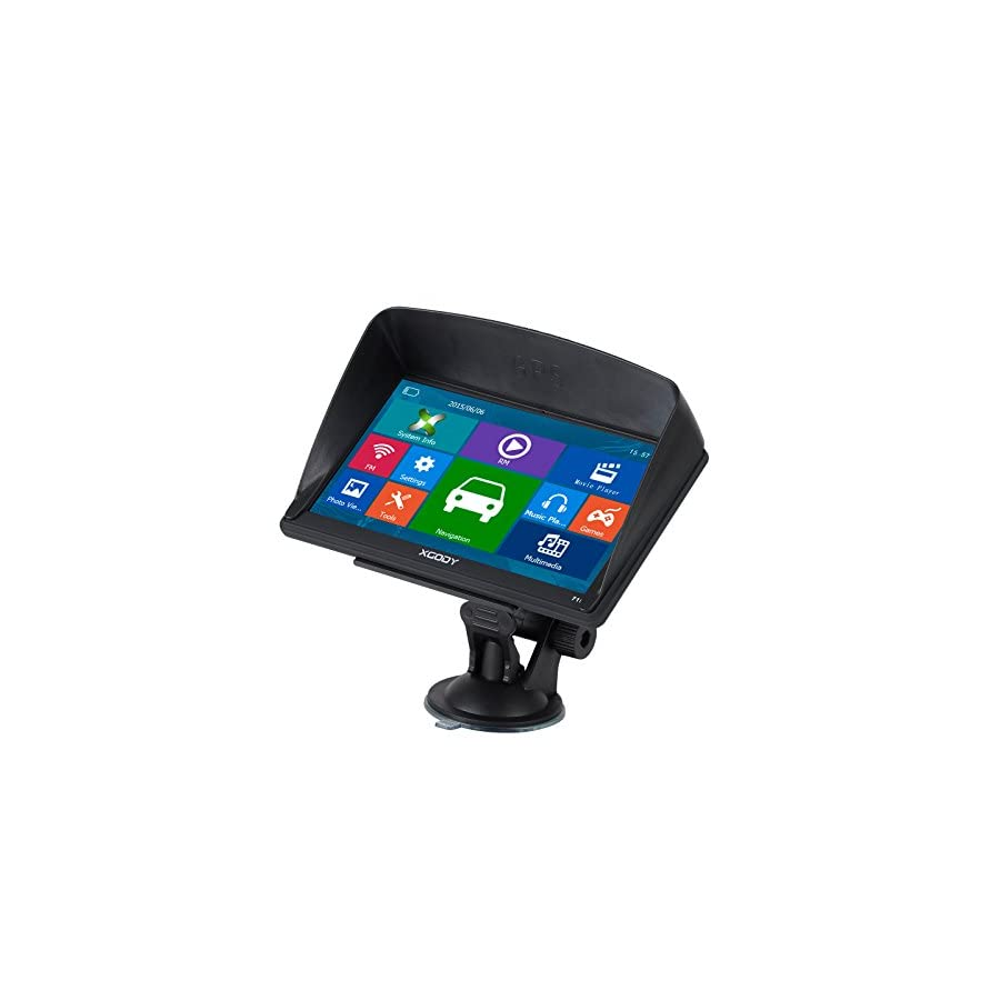 Xgody Car Truck GPS Navigation 7 Inch Capacitive Touch Screen SAT NAV Pre Installed North America Maps Lifetime Map Update