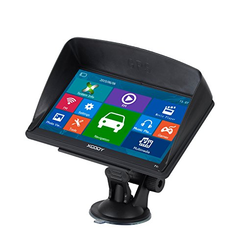 Bluetooth Capacitive Touch Screen 7 Inch Car Truck GPS Navigation 8G ROM Pre installed North America Maps Lifetime Free Map Update with Sun Shade
