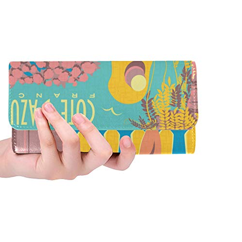 - Unique Custom Woman On Vacation On French Riviera Women Trifold Wallet Long Purse Credit Card Holder Case Handbag