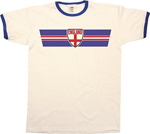 Mens ENGLAND RETRO STRIP Patriotic Ringer T-Shirt