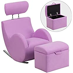 Flash Furniture HERCULES Series Lavender Fabric Rocking Chair with Storage Ottoman