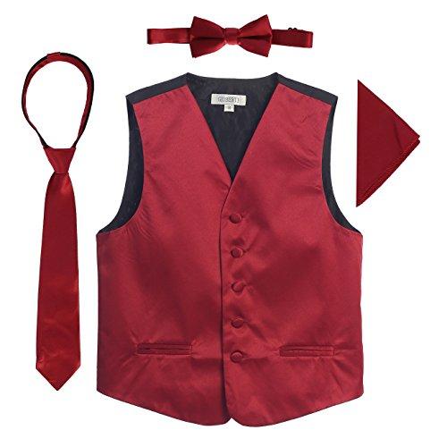 (Gioberti Boys 4pc Satin Formal Vest Set, Burgundy,)