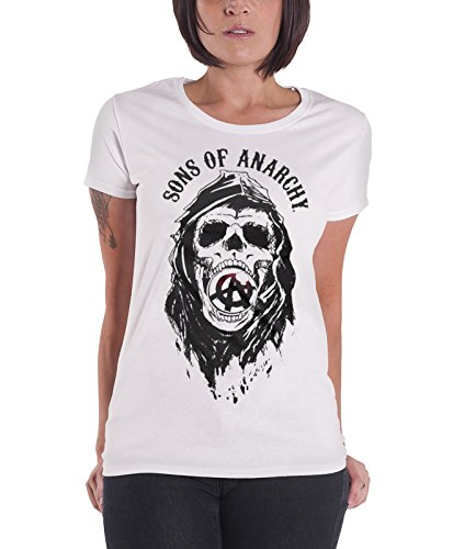 Sons of Anarchy T Shirt Draft Skull Official Womens Junior Fit White Size 8 -