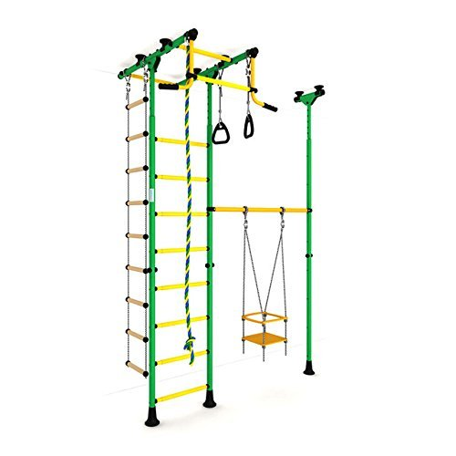 Indoor Kids Playground Play Set / Green Training Gym Sport with Accessories Equipment: Swing, Climber, Rope ladder, Rope and Gymnastic Rings / Suit for Apartment, School and Playroom / Carousel R33