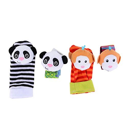 ThinkMax Baby Rattle, 4 PCS Baby Wrist Rattles and Foot Finder Set Developmental Soft Animal Toys - Monkey and Panda
