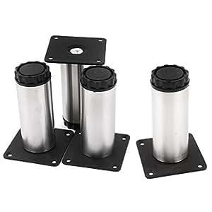 uxcell 4 pcs screw mounted cabinet support adjustable leg feet 38mmx100mm. Black Bedroom Furniture Sets. Home Design Ideas