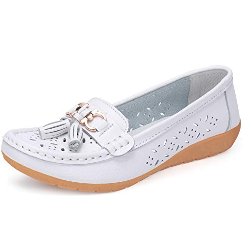 labato Womens Leather Casual Loafers Slip-ONS Driving Flats Shoes ()