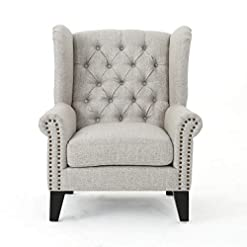 Farmhouse Accent Chairs Christopher Knight Home Laird Traditional Winged Fabric Accent Chair, Beige / Dark Brown farmhouse accent chairs