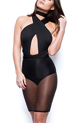 Aleng Women's Sexy See Through Club Dress Halter Criss Cross Backless Mesh Sheer Bodycon Midi Dress Black Small (Halter Club)