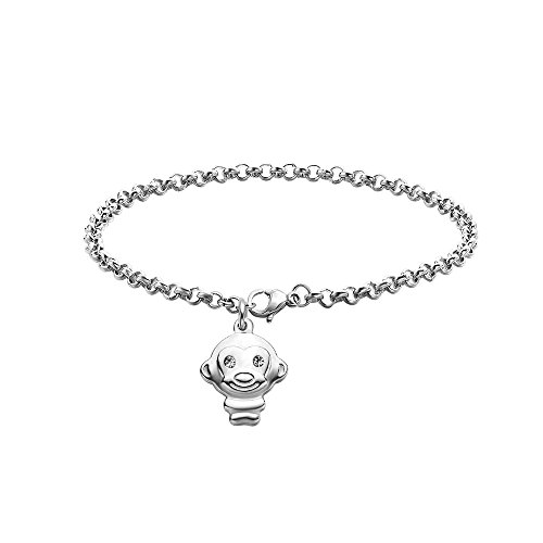 Dec.bells Cute Chinese Zodiac Bracelet Monkey Charm Link Bracelet Chain Animals Jewelry Gift Birthday (Sliver monkey)