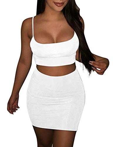 BORIFLORS Women's Sexy 2 Piece Outfits Strap Crop Top Skirt Set Bodycon Mini ()