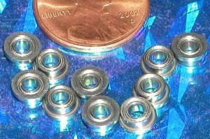 10 Slot Car Flanged Shielded Bearing 1/8 x 1/4 inch Miniature Ball