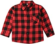 Menglo Toddler Baby Boy Girl Newborn Long Sleeve Red Plaid Button Down Checked Blouse Fall Winter Clothes Shir