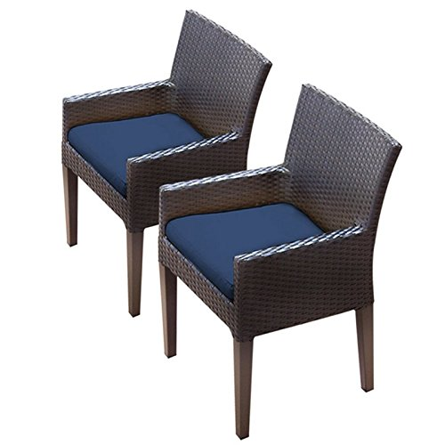 TK Classics Napa 2 Piece Dining Chairs with Arms, Navy ()