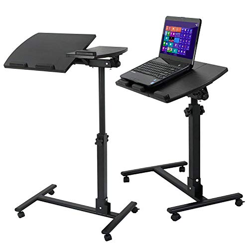 Saturnpower Portable Swivel Rolling Laptop Desk Table, Angle & Height Adjustable Notebook Stand PC Support Stand Computer Holder Office Personal Computer Side Table Home Bedside Computer Table Cart (Office Cascade Set)