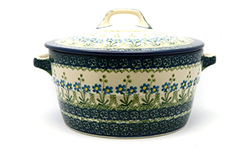 (Polish Pottery Baker - Round Covered Casserole - Blue Spring)