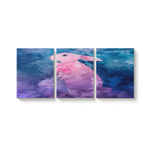 Canvas Wall Art Office Hotel Bedroom Living Room Home Decor,Watercolour of Rabbit Canvas Art Oil Paintings,Pictures Modern Artworks,24 x 32in x 3 Panels ()