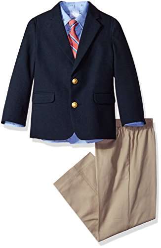 Jacket Suit Set (Nautica Big Boys' Suit Set With Jacket, Shirt, Pant, and Tie, Classic Navy, 6)