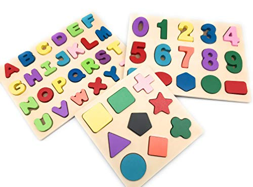 Wooden Alphabet Puzzle, Numbers Wooden Learning Puzzle, Wooden Preschool Shape Puzzle Board