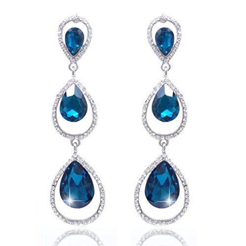 EVER FAITH Women's Austrian Crystal 3 Teardrop Chandelier Dangle Earrings Aquamarine Color Silver-Tone