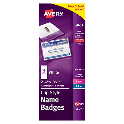 Avery Top-Loading Garment-Friendly Clip Style Name Badges, 2-1/4 x 3-1/2, Pack of 12 (74651)
