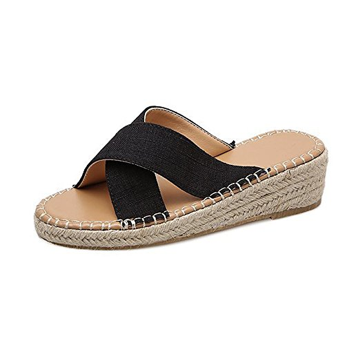 Espadrilles Slippers for Women,SMALLE◕‿◕ Women Cross Strappy Sandals Espadrille Wedge Slippers Low Heels Comfy Shoes Black
