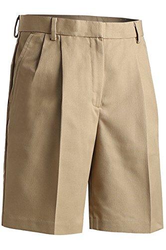 Womens Pleated Twill Shorts - Edwards Garment Women's Classic Fit Pleated Short, KHAKI, 18W