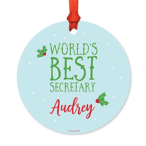 - Andaz Press Personalized Professional Round Metal Christmas Ornament, World's Best Secretary, Audrey, 1-Pack, Includes Ribbon and Gift Bag, Custom Name
