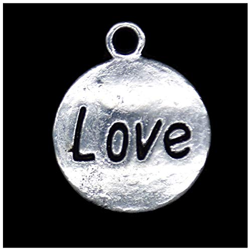 Pack of 80 Flat Love Pattern Charms Pendants Silver Craft Supplies for Jewelry Making Tibetan Accessories for Bracelets Necklace DIY