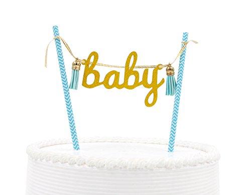 Qttier(TM Baby Shower Cake Topper Set Flag Banner Birthday Party Decoration Gold Glitter Letter(Gold & Blue)