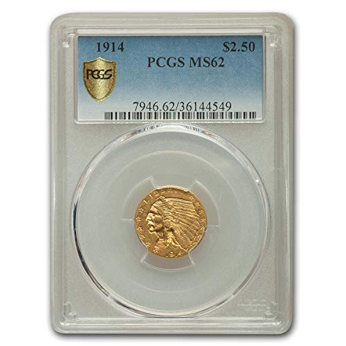 1914 $2.50 Indian Gold Quarter Eagle MS-62 PCGS $2.50 MS-62 PCGS