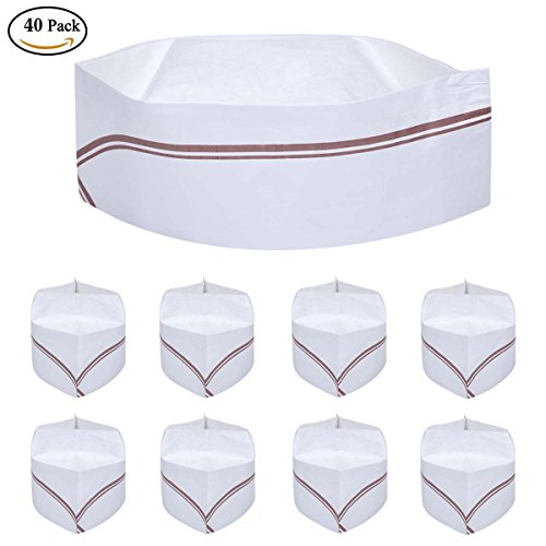40 PCS Disposable Soda Jerk Paper Cap Chef Hat Retro Diner Food for Theme Restaurant Party with Red or Brown Strip - Shop Apron Soda