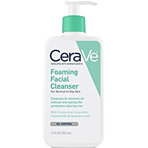 CeraVe Foaming Facial Cleanser 12 oz for Daily Face Washing, Normal to Oily Skin