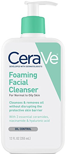 CeraVe Foaming Facial Cleanser 12 oz for Daily Face Washing, Normal to Oily Skin (packaging may vary)