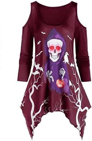 Halloween Shirt for Women Plus Size Casual Off Shoulder Long Sleeve Skull Ghost Pumpkin Print Asymmetrical Top