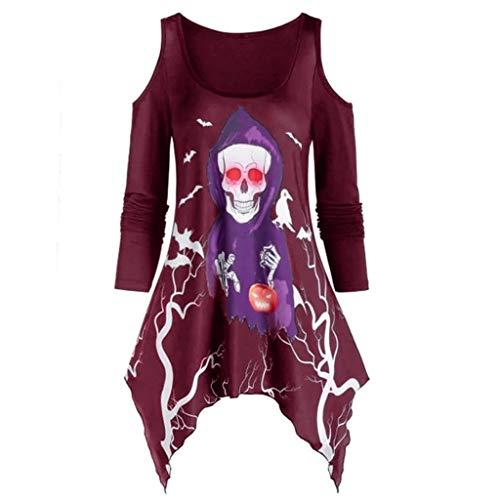 ✦HebeTop✦ Women's Pullover Casual Off The Shoulder Slouchy Sweatshirt Skull Print Long Sleeve Irregular T-Shirt Blouse Wine